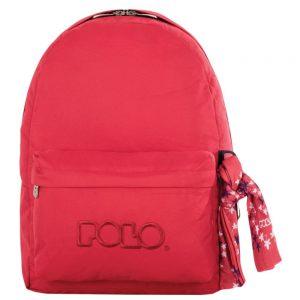 Polo Original Τσάντα Πλάτης Με Μαντήλι Ανοικτό Κόκκινο 2019 9-01-135-56+ Δώρο Διορθωτική Ταινία Edding