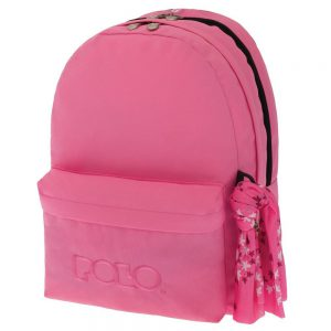 Polo Double Τσάντα Πλάτης Με Μαντήλι Ανοικτό Ροζ 2018 9-01-235-16+ Δώρο Διορθωτική Ταινία Edding