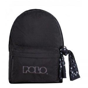 Polo Double Τσάντα Πλάτης Με Μαντήλι Μαύρο 2020 9-01-235-02+ Δώρο Διορθωτική Ταινία Edding