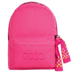 Polo Double Τσάντα Πλάτης Με Μαντήλι Ροζ 2016 9-01-235-29+ Δώρο Διορθωτική Ταινία Edding