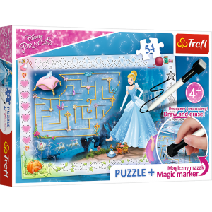 Trefl Puzzle 54 Pcs + Marker Disney Princess Cinderella Slipper Girls 75112
