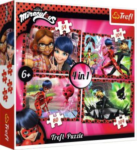 TREFL Puzzle 4 in 1 54/80/104/104 Pcs MIRACULOUS LADYBUG 34279