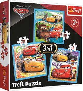 TREFL Puzzle 20/36/50 Pcs 3 in 1 CARS 34848