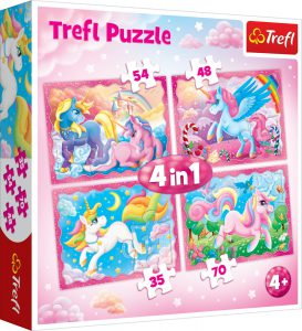 Trefl Puzzle 35/48/54/70 Pcs 4 in 1 Magical world of unicorns 34321