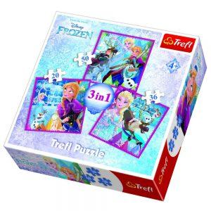 TREFL PUZZLE 20/36/50 Pcs 3 in 1 FROZEN WINTER MAGIC 34832