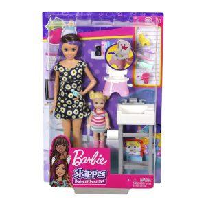Mattel Barbie Σκίπερ Babysitter-Στο Μπάνιο Με Το Μωρό (FJB01)