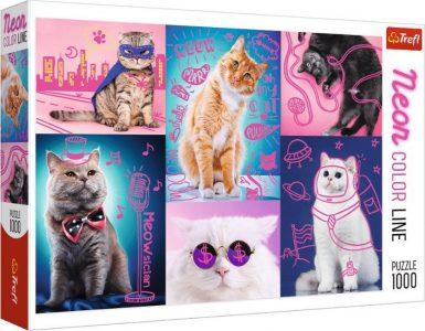 Trefl Puzzle 1000 Pcs Neon Color Super Cats 10581