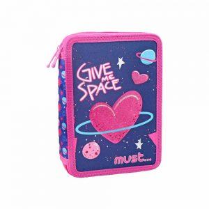 Must Κασετίνα Διπλή Γεμάτη Premium Space Heart 579797