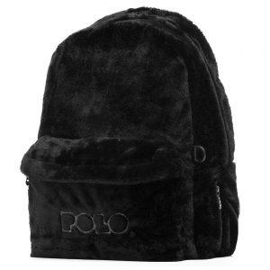 Polo – Σακίδιο Πλάτης Mini Fur Μαύρο Γούνινο 2020 9-07-168-02 + Δώρο Διορθωτική Ταινία Edding