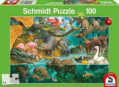 Schmidt Spiele – Puzzle Animal Families At The Riverside 100 Pcs 56306