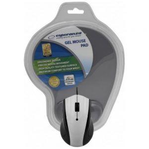 Esperanza – Ενσύρματο Ποντίκι Και Mousepad Gel USB Grey EM-125E